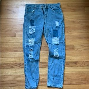 Denim - Distressed patched jeans
